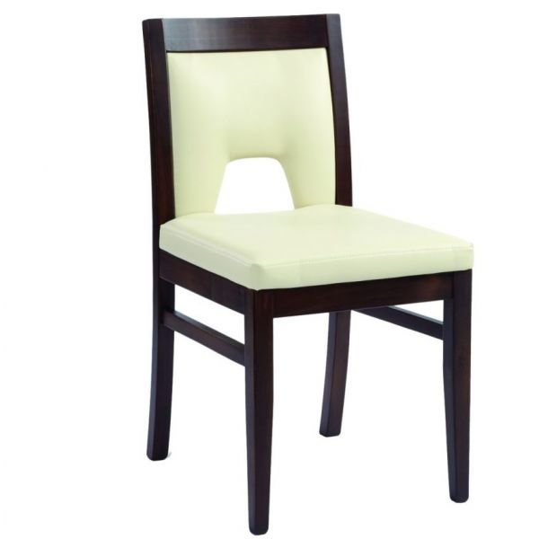 Doyle Side Chair (Ivory Faux / Walnut)