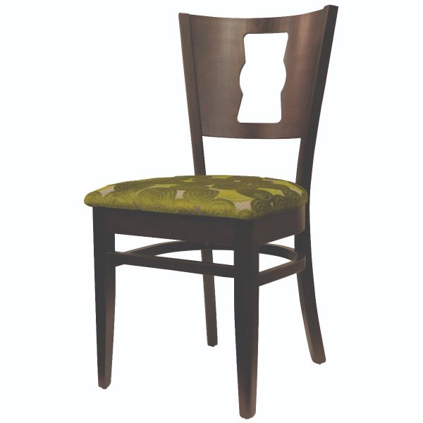 Memphis Solid Back Keyhole Stacking Side Chair (Green / Walnut)