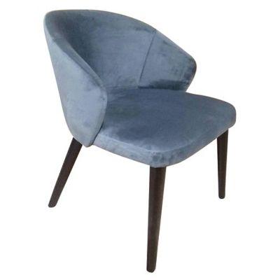 Ambrosia Full Back Side Chair (Blue Velvet / Black)