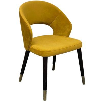 Ambrosia Golden Feet Side Chair (Mustard Velvet / Wenge)