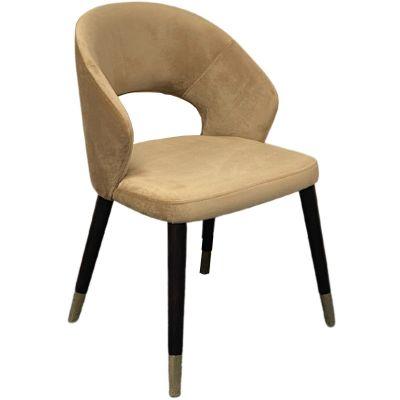 Ambrosia Golden Feet Side Chair (Taupe Velvet / Wenge)
