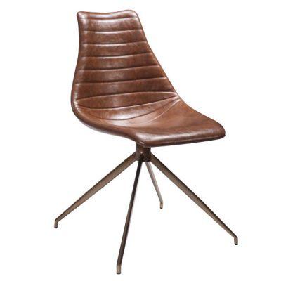Arkan Driver Splay Leg Side Chair (Brown Faux)