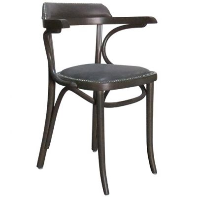 Bentwood Jerry UPH Side Chair (Black Faux / Walnut)