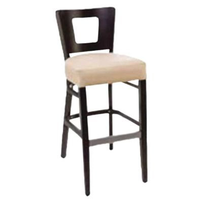 Atlantic Solid Back High Chair with Hole (Ivory Faux/Wenge)