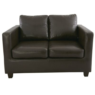 Grom Two Seater Sofa (Dark Brown Faux)