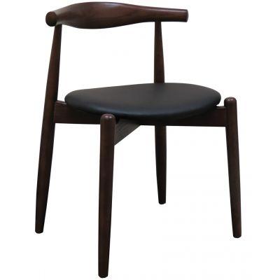 Bulldog Side Chair (Black Faux / Walnut)