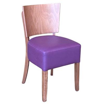 Memphis Solid Back Side Chair (Plum Faux / Alder)