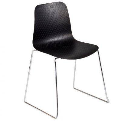 Net Skid Frame Stackable Side Chair (Black)