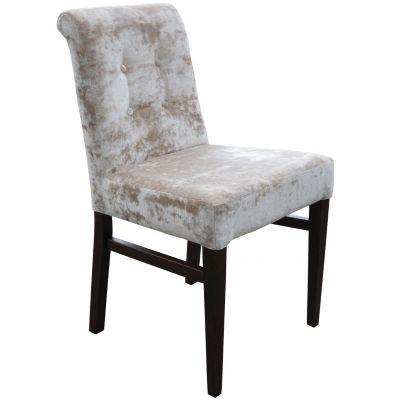 Nico Scroll Float Button Back Side Chair (Ivory Velvet)