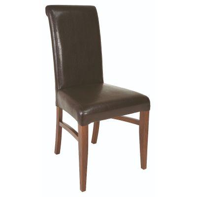 Premier Scroll Side Chair (Brown Faux)