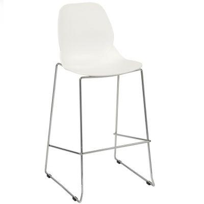 Space Skid Frame High Chair (White / Chrome)
