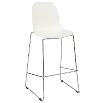 Space Skid Frame Mid Height Chair (White / Chrome)