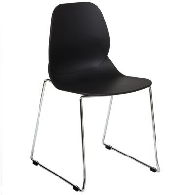 Space Skid Frame Stackable Side Chair (Black / Chrome)