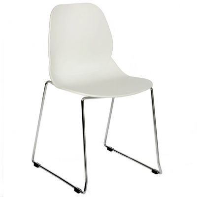 Space Skid Frame Stackable Side Chair (White / Chrome)