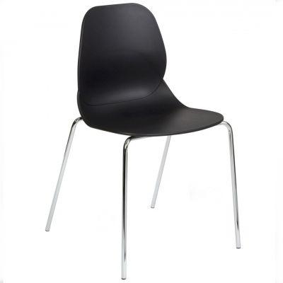 Space Four Metal Leg Side Chair (Black / Chrome)
