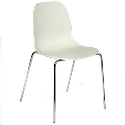 Space Four Metal Leg Side Chair (White  / Chrome)