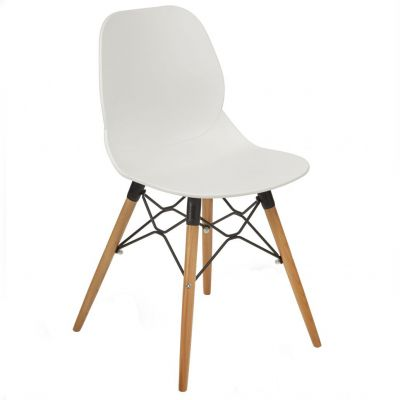 Space Web Frame Side Chair (White / Beech)