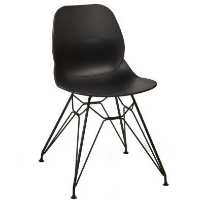 Space Metal Web Frame Side Chair (Black / Black)