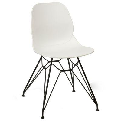 Space Metal Web Frame Side Chair (White / Black)