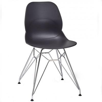 Space Metal Web Frame Side Chair (Black / Chrome)