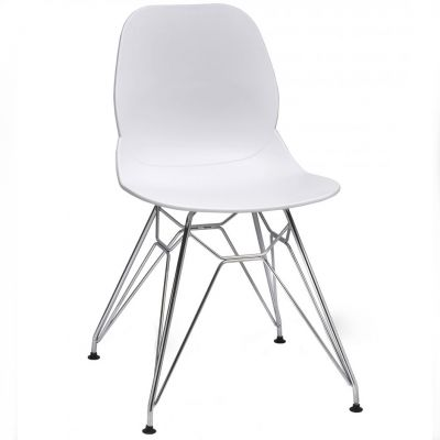 Space Metal Web Frame Side Chair (White / Chrome)