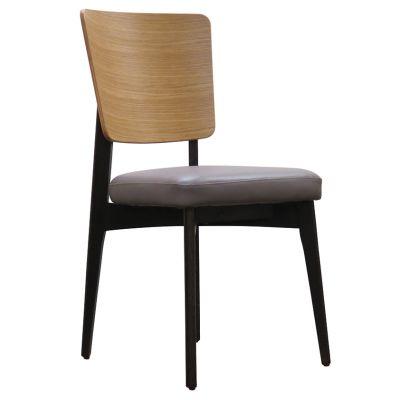 Sly Solid Back Side Chair (Grey Faux / Oak)