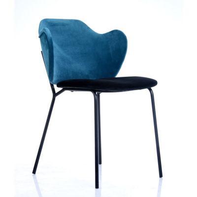 Torsade Side Chair (Blue Velvet/Black)