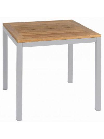 Plaza Villa Square Dining Table (Silver / Teak)