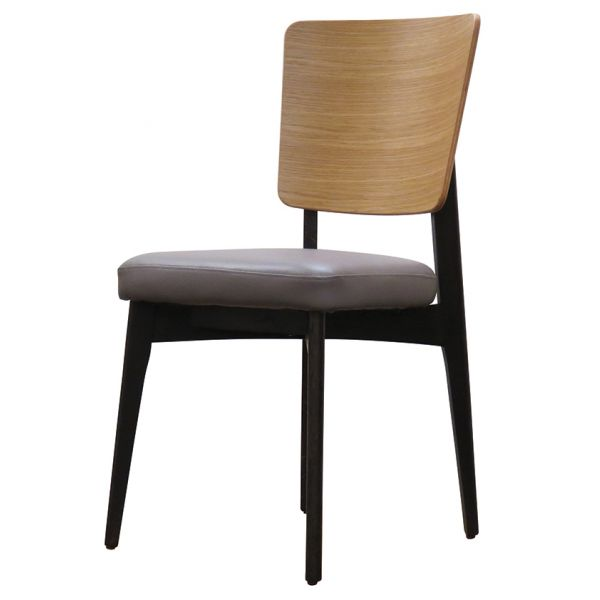 Sly Solid Back Side Chair (Grey Faux / Oak)